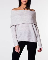 Bergen Off Shoulder Pull Knit White/Melange