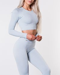 Turquoise Ribbed Seamless Crop Long Sleeve