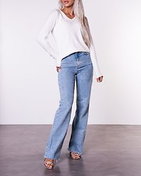 Ril V-Neck Knit Top White Alyssum