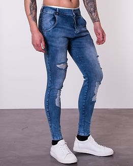 Distressed Skinny Denim Midwash
