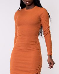 Rust Ruched Side Long Sleeve Dress
