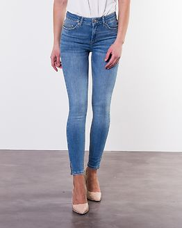 Delly Mid Waist Crop Slit Skinny Light Blue Denim