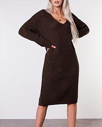 V-Neck Oversize Knit Dress Coffee