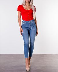 Polly Button Tee Flame Red