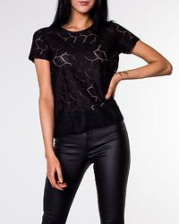 Tag Tee Lace Top Black