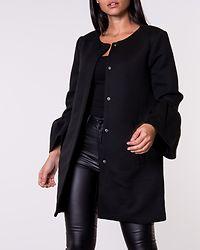 Sia Frill Light Melange Coat Black
