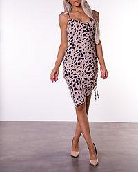 Draped High Slit Midi Dress Leopard Print