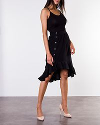 Victoria Long Frill Skirt Black