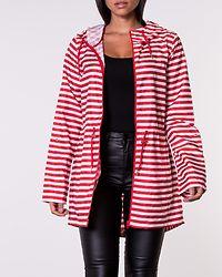 Habea Stripe Parka Jacket Goji Berry/Cloud Dancer