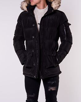 Shiny Puff Parka Black