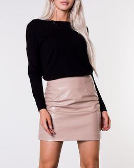 Crop PU Mini Skirt Camel