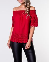Shery Anglaise Off Shoulder Top Chili Pepper