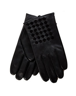 Braided Gloves Leather Black