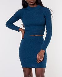 Set Taut Ribbed Skirt And Jumper Teal