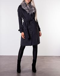 Elisa Coat With Belt Dark Grey Melange
