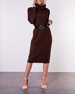 Knitted Roll Neck Knitted Dress Chocolate