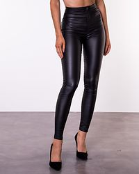 Ella Super High Waist Coated Pants Black