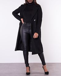 Gina Wool Wrap Coat Black