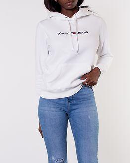 Clean Linear Logo Hoodie Classic White