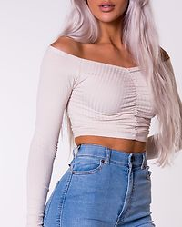 Recycled Off Shoulder Rouched Top Beige