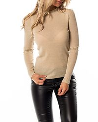 Leja High Neck Shirt Sandshell/Gold Metallic