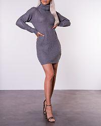 Silver Roll Neck Knit Jumper Dress