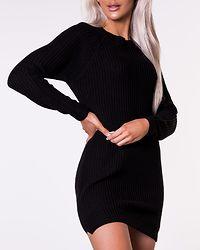 Siesta O-Neck Knit Dress Black