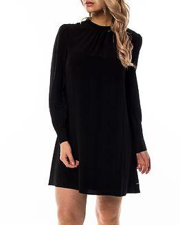 Faux Silk Drapey Dress Black