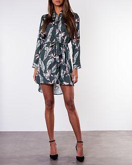 Edie Dip Hem Shirt Dress Khaki Palm Print