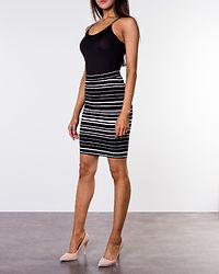 Lina Above Knee Skirt Bright White/Black