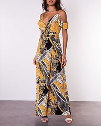 Helena Frill Off The Shoulder Detail Wrap Front Maxi Dress Yellow Print