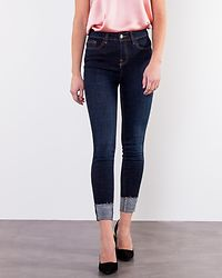 Lexi Skinny Fold Up Jeans Dark Blue Denim