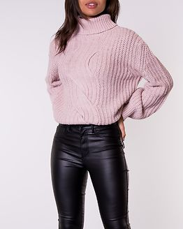 Cable Knit Roll Neck Jumper Pink