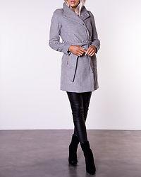 Twodope Belt Wool Jacket Light Grey Melange