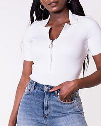 Chrisp V-neck Zipper Body Snow White