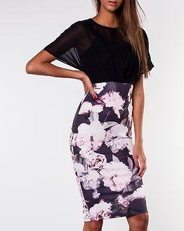 Autumn Batwing Top Midi Dress Black Print