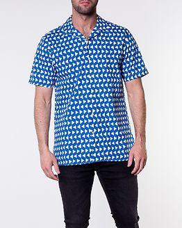 Bold Geo Print Shirt Maritime Blue