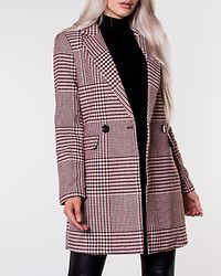 Selena Check Wool Coat Pumice Stone/Picante