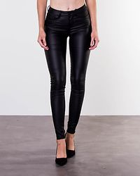 Anne Mid Waist Coated Jeans Black