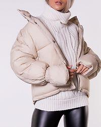 Elastic Detail Puffer Jacket Beige