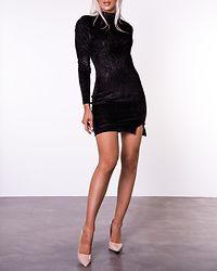 Black Rib Velvet Dress