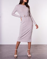 Marl Belted Midi Dress Light Brown Marl