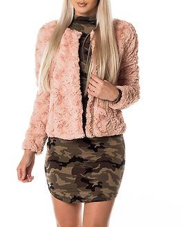 Curl Short Fake Fur Jacket Rose Cloud