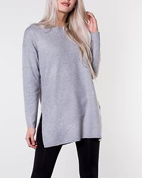 Brilliant O-Neck Long Blouse Light Grey Melange