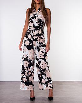 Angelica Sleeveless Button Down Tie Waist Jumpsuit Beige Print