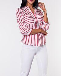 Erika Stripe Shirt Snow White/Chinese Red