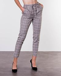 Poptrash Soft Contrast Check Pants Light Grey Melange/Cloud Dancer