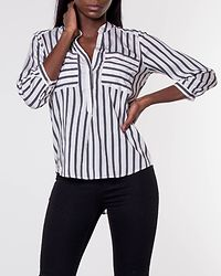 Erika Stripe Shirt Snow White/Black