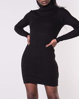 Amanda Long Line Ribbed Roll Neck Dress Black