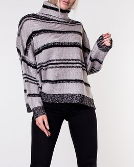 Atlanta Roll Neck Knit Grey/Black Striped